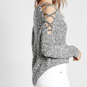 Express Marled Lace-Up Cold Shoulder Pullover